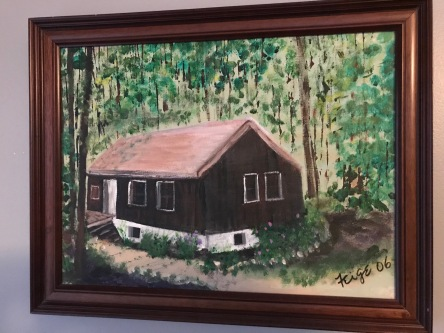 Mom's painting of the house in Livingston Manor. It hangs on my bedroom wall.